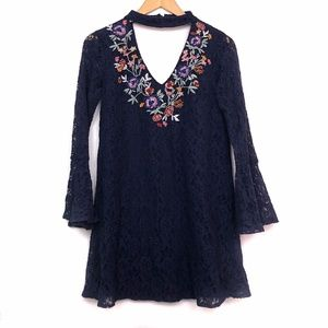 XHILARATION Navy Floral Lace Embroidered Dress XS